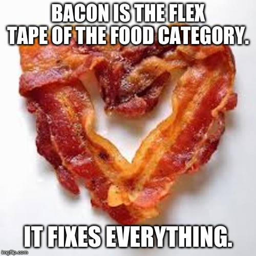 bacon | BACON IS THE FLEX TAPE OF THE FOOD CATEGORY. IT FIXES EVERYTHING. | image tagged in flex tape,phil swift,bacon,bacon meme,bacon week | made w/ Imgflip meme maker