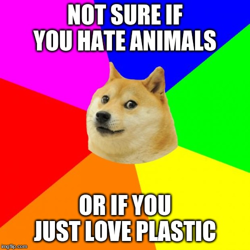 Advice Doge | NOT SURE IF YOU HATE ANIMALS OR IF YOU JUST LOVE PLASTIC | image tagged in memes,advice doge | made w/ Imgflip meme maker