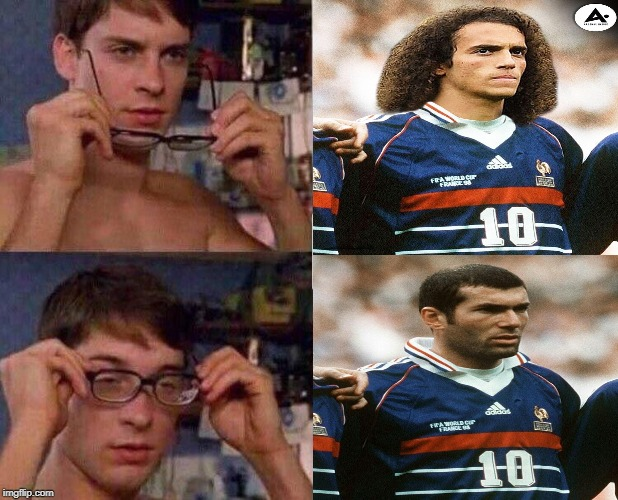 guendouzi zidane meme | image tagged in spiderman glasses,guendouzi,zidane,france,arsenal | made w/ Imgflip meme maker