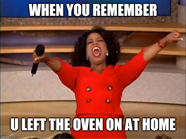 Oprah You Get A | WHEN YOU REMEMBER U LEFT THE OVEN ON AT HOME | image tagged in memes,oprah you get a | made w/ Imgflip meme maker