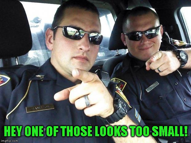 Cops | HEY ONE OF THOSE LOOKS TOO SMALL! | image tagged in cops | made w/ Imgflip meme maker
