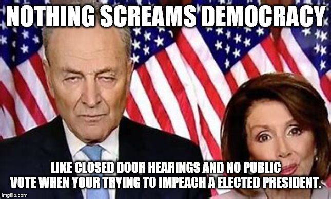 Democracy ? | NOTHING SCREAMS DEMOCRACY LIKE CLOSED DOOR HEARINGS AND NO PUBLIC VOTE WHEN YOUR TRYING TO IMPEACH A ELECTED PRESIDENT. | image tagged in democrats,trump,impeachment | made w/ Imgflip meme maker