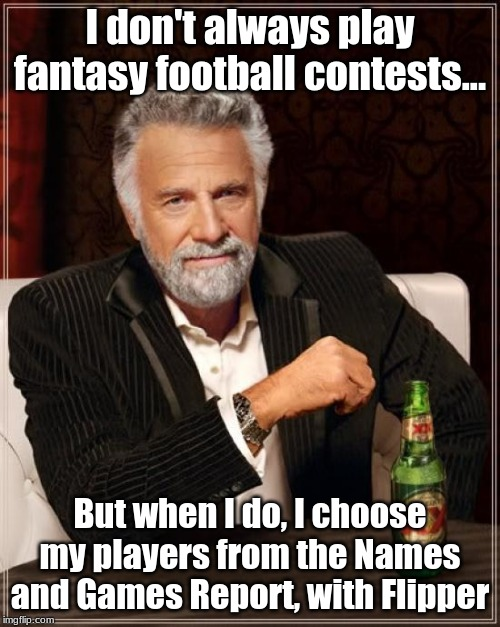 NFL Football Names and Games for fantasy football |  I don't always play fantasy football contests... But when I do, I choose my players from the Names and Games Report, with Flipper | image tagged in memes,the most interesting man in the world,nfl,football,fantasy football | made w/ Imgflip meme maker