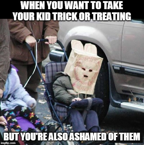 BAGHEAD | WHEN YOU WANT TO TAKE YOUR KID TRICK OR TREATING BUT YOU'RE ALSO ASHAMED OF THEM | image tagged in halloween,trick or treat | made w/ Imgflip meme maker