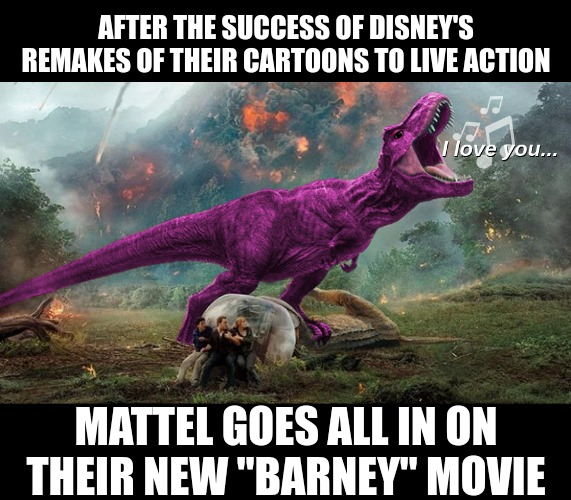 "Live Action Barney |  AFTER THE SUCCESS OF DISNEY'S REMAKES OF THEIR CARTOONS TO LIVE ACTION; MATTEL GOES ALL IN ON THEIR NEW ""BARNEY"" MOVIE 