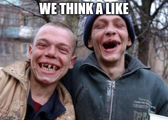 WE THINK A LIKE | image tagged in memes,ugly twins | made w/ Imgflip meme maker