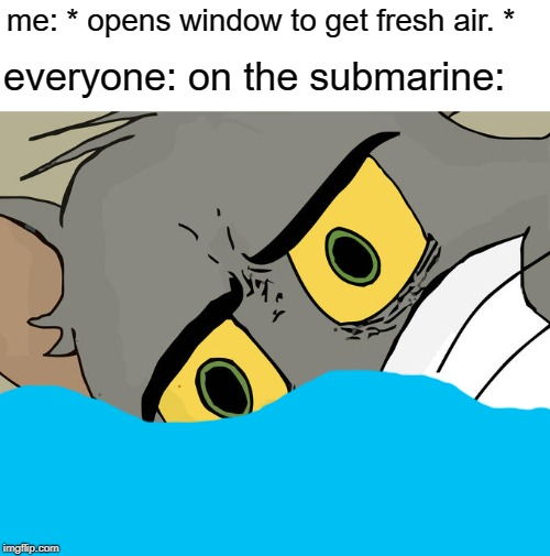 Unsettled Tom Meme | me: * opens window to get fresh air. * everyone: on the submarine: | image tagged in memes,unsettled tom | made w/ Imgflip meme maker