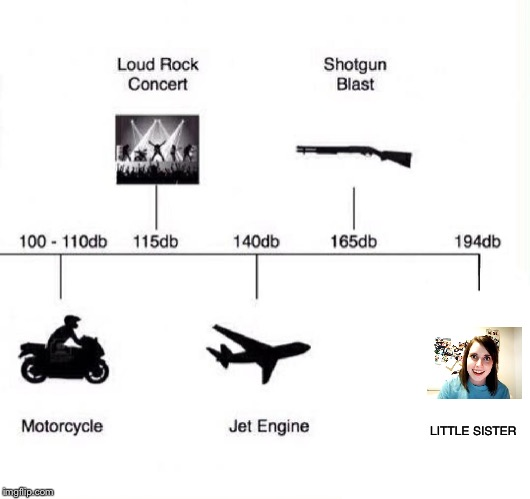 Decibel noise |  LITTLE SISTER | image tagged in decibel noise | made w/ Imgflip meme maker