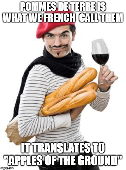 "scumbag french | POMMES DE TERRE IS WHAT WE FRENCH  CALL THEM IT TRANSLATES TO ""APPLES OF THE GROUND"" 