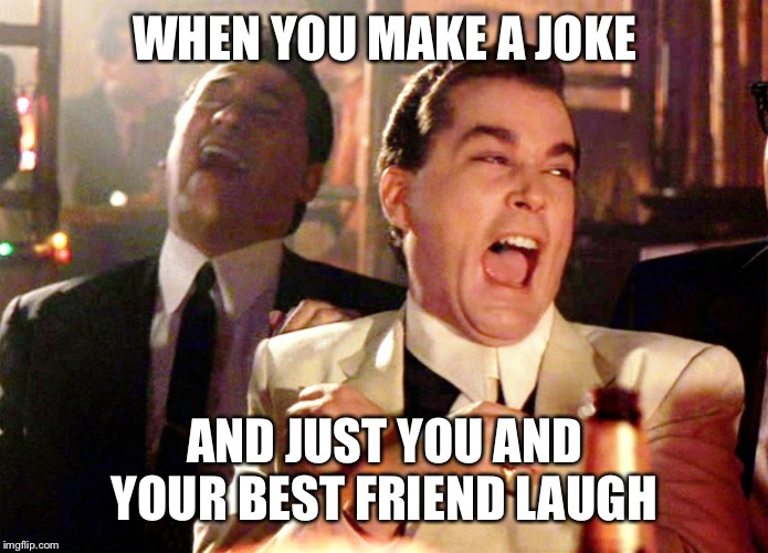 Good Fellas Hilarious Meme | WHEN YOU MAKE A JOKE AND JUST YOU AND YOUR BEST FRIEND LAUGH | image tagged in memes,good fellas hilarious | made w/ Imgflip meme maker