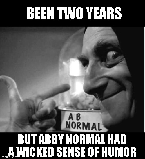 We disagreed frequently discussing politics, but we shared a joy of wicked humor |  BEEN TWO YEARS; BUT ABBY NORMAL HAD A WICKED SENSE OF HUMOR | image tagged in abby_normal | made w/ Imgflip meme maker