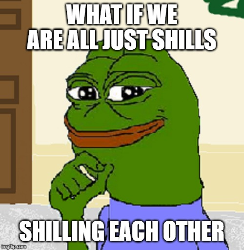 Ever think about that? |  WHAT IF WE ARE ALL JUST SHILLS; SHILLING EACH OTHER | image tagged in pepe,shill,conspiracy,critical thinking | made w/ Imgflip meme maker