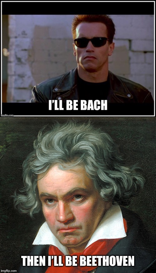 It's An Austrian 'Thing' | THEN I'LL BE BEETHOVEN | image tagged in arnold schwarzenegger,bach,beethoven,austria,terminator | made w/ Imgflip meme maker