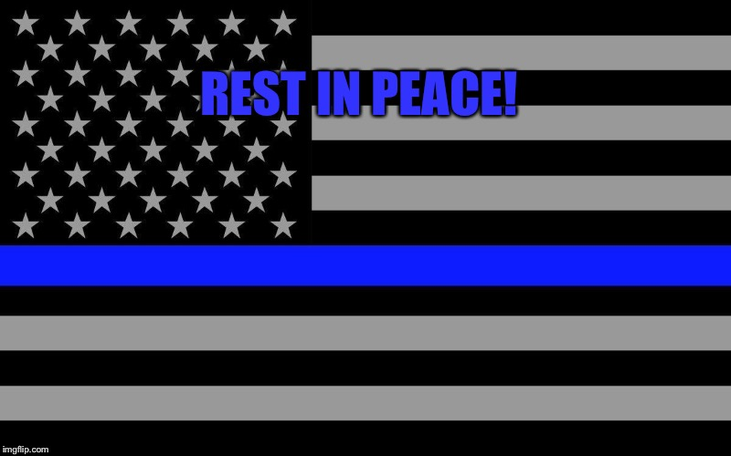 Rest In Peace! | REST IN PEACE! | image tagged in blue lives matter,thin blue line,police officer,tribute | made w/ Imgflip meme maker