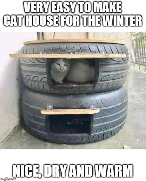 YOU COULD MAKE A DOG HOUSE WITH TRACTOR TIRES | VERY EASY TO MAKE CAT HOUSE FOR THE WINTER NICE, DRY AND WARM | image tagged in cats | made w/ Imgflip meme maker