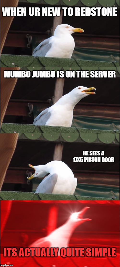 Inhaling Seagull | WHEN UR NEW TO REDSTONE MUMBO JUMBO IS ON THE SERVER HE SEES A 17X5 PISTON DOOR ITS ACTUALLY QUITE SIMPLE | image tagged in memes,inhaling seagull | made w/ Imgflip meme maker