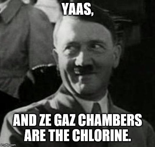 Hitler laugh  | YAAS, AND ZE GAZ CHAMBERS ARE THE CHLORINE. | image tagged in hitler laugh | made w/ Imgflip meme maker