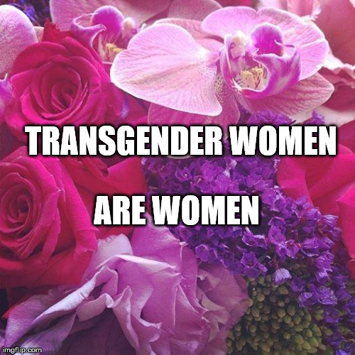 If you don't include Trans-women in your feminism, you're not a real feminist | TRANSGENDER WOMEN ARE WOMEN | image tagged in flowers,lgbtq,transgender,feminism | made w/ Imgflip meme maker