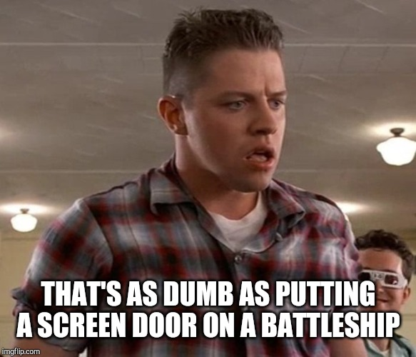 Young Biff | THAT'S AS DUMB AS PUTTING A SCREEN DOOR ON A BATTLESHIP | image tagged in young biff | made w/ Imgflip meme maker