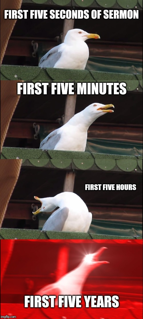 Inhaling Seagull |  FIRST FIVE SECONDS OF SERMON; FIRST FIVE MINUTES; FIRST FIVE HOURS; FIRST FIVE YEARS | image tagged in memes,inhaling seagull | made w/ Imgflip meme maker