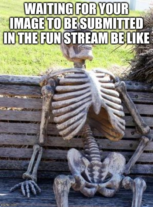 Waiting Skeleton | WAITING FOR YOUR IMAGE TO BE SUBMITTED IN THE FUN STREAM BE LIKE | image tagged in memes,waiting skeleton | made w/ Imgflip meme maker