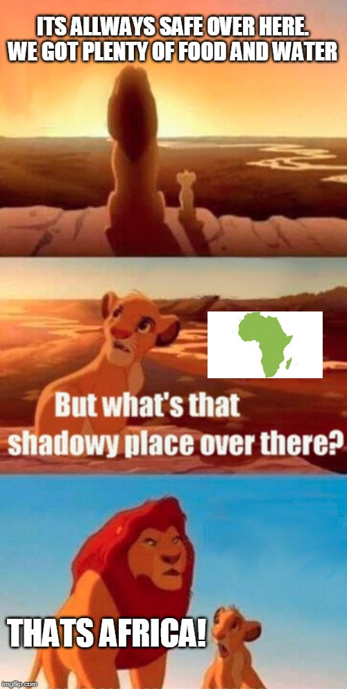 Simba Shadowy Place | ITS ALLWAYS SAFE OVER HERE. WE GOT PLENTY OF FOOD AND WATER THATS AFRICA! | image tagged in memes,simba shadowy place | made w/ Imgflip meme maker
