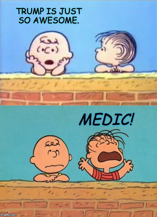 Just kidding, mostly.  Be yourself. | TRUMP IS JUST SO AWESOME. MEDIC! | image tagged in memes,peanuts,trump | made w/ Imgflip meme maker