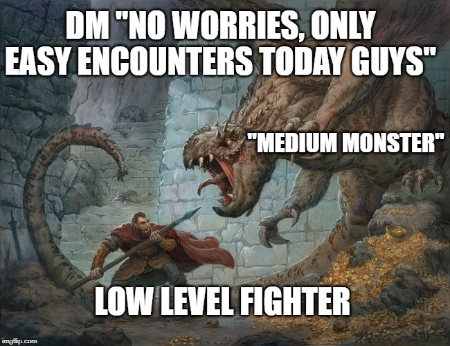 "Man Fighting Dragon | LOW LEVEL FIGHTER ""MEDIUM MONSTER"" DM ""NO WORRIES, ONLY EASY ENCOUNTERS TODAY GUYS"" 