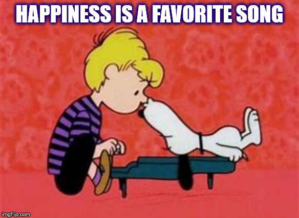 SNOOPY LIKES HEARING HIS FAVORITE SONG |  HAPPINESS IS A FAVORITE SONG | image tagged in snoopy,peanuts,favorite,song,music,kiss | made w/ Imgflip meme maker