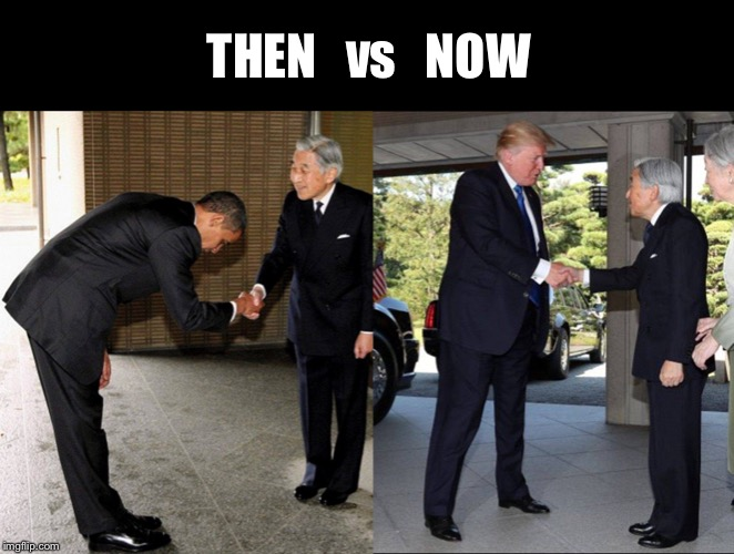 We are no longer a doormat | THEN   vs   NOW | image tagged in obama,trump,doormat,bow | made w/ Imgflip meme maker