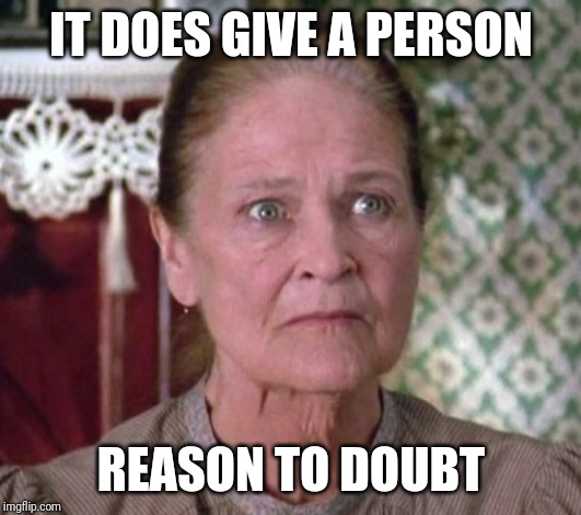 IT DOES GIVE A PERSON REASON TO DOUBT | made w/ Imgflip meme maker