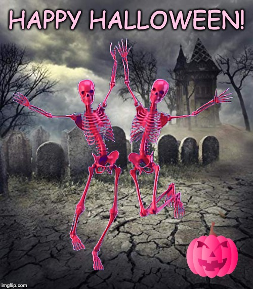 Happy Halloween |  HAPPY HALLOWEEN! | image tagged in halloween,happy halloween,skeleton,graveyard | made w/ Imgflip meme maker