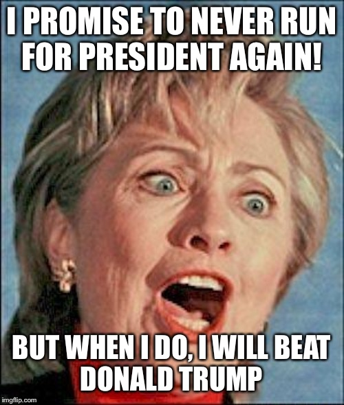 Ugly Hillary Clinton |  I PROMISE TO NEVER RUN FOR PRESIDENT AGAIN! BUT WHEN I DO, I WILL BEAT DONALD TRUMP | image tagged in ugly hillary clinton | made w/ Imgflip meme maker