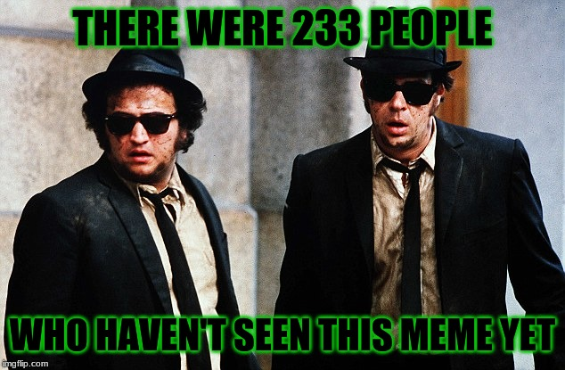 THERE WERE 233 PEOPLE WHO HAVEN'T SEEN THIS MEME YET | image tagged in blues brothers wtf | made w/ Imgflip meme maker