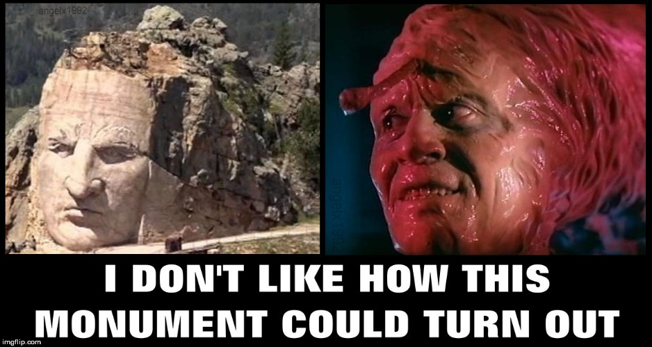 image tagged in monument,crazy horse,native american,horror movie,halloween,scary movie | made w/ Imgflip meme maker