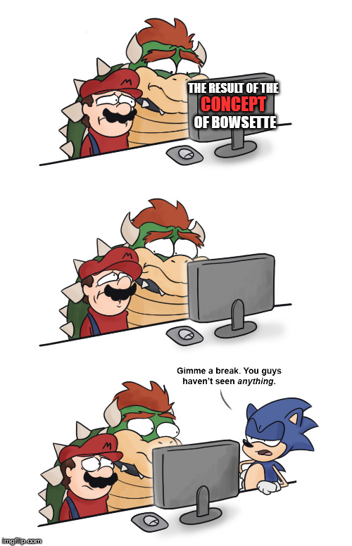 THE RESULT OF THE; CONCEPT; OF BOWSETTE | image tagged in bowsette,memes,truth,funny,too funny,sonic the hedgehog | made w/ Imgflip meme maker