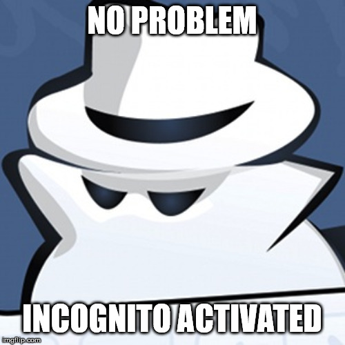 incognito.memory | NO PROBLEM INCOGNITO ACTIVATED | image tagged in incognitomemory | made w/ Imgflip meme maker