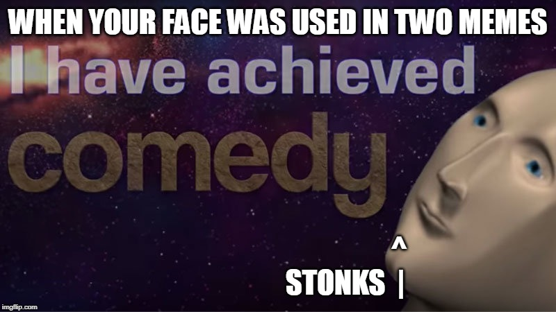 I have achieved comedy | WHEN YOUR FACE WAS USED IN TWO MEMES ^ STONKS  | | image tagged in i have achieved comedy | made w/ Imgflip meme maker