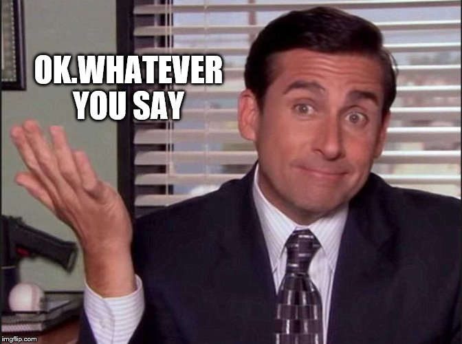 OK.WHATEVER YOU SAY | image tagged in michael scott | made w/ Imgflip meme maker