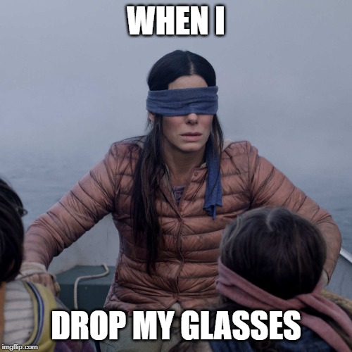 Bird Box |  WHEN I; DROP MY GLASSES | image tagged in memes,bird box | made w/ Imgflip meme maker
