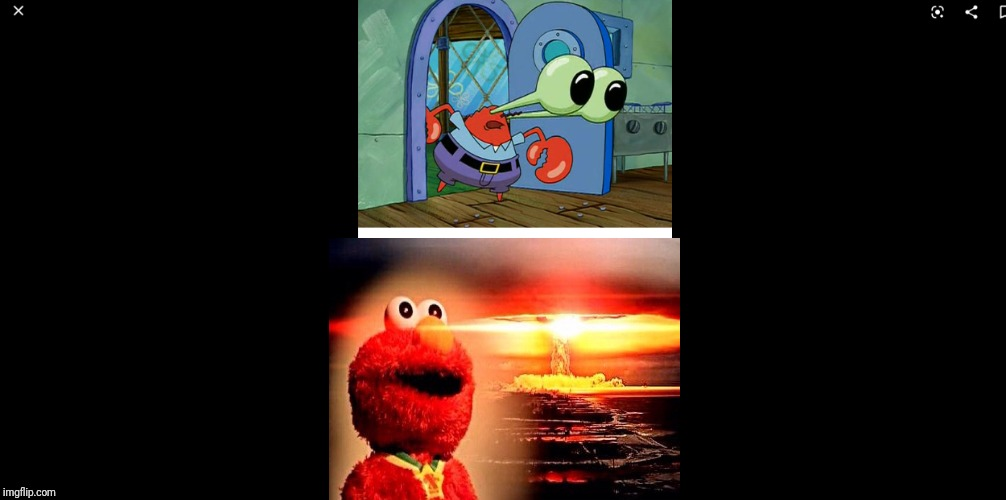 Elmo Is The Real Villain | image tagged in shocked mr krabs | made w/ Imgflip meme maker