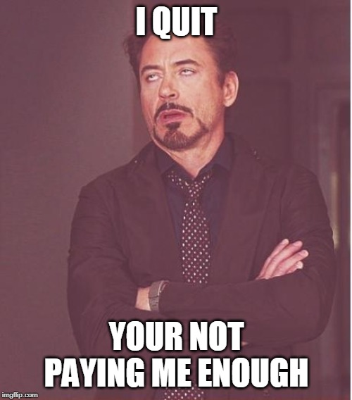 Face You Make Robert Downey Jr |  I QUIT; YOUR NOT PAYING ME ENOUGH | image tagged in memes,face you make robert downey jr | made w/ Imgflip meme maker