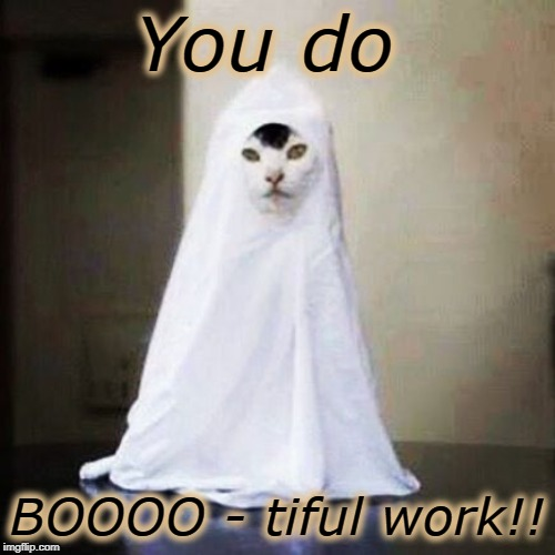 Ghost cat | You do BOOOO - tiful work!! | image tagged in ghost cat | made w/ Imgflip meme maker