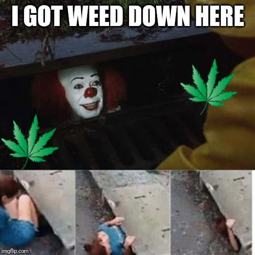 pennywise in sewer |  I GOT WEED DOWN HERE | image tagged in pennywise in sewer | made w/ Imgflip meme maker