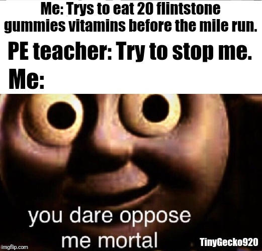 When you eat 20 flintstone gummies vitamins before the mile run. | Me: Trys to eat 20 flintstone gummies vitamins before the mile run. PE teacher: Try to stop me. Me: TinyGecko920 | image tagged in memes,flintstones,thomas the tank engine,thomas the train,thomas,you dare oppose me mortal | made w/ Imgflip meme maker