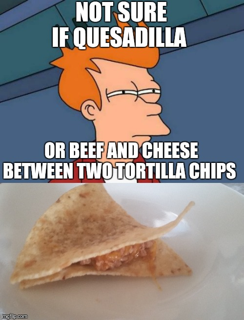 Which is which? | NOT SURE IF QUESADILLA OR BEEF AND CHEESE BETWEEN TWO TORTILLA CHIPS | image tagged in memes,futurama fry,food,mexican food,optical illusion | made w/ Imgflip meme maker