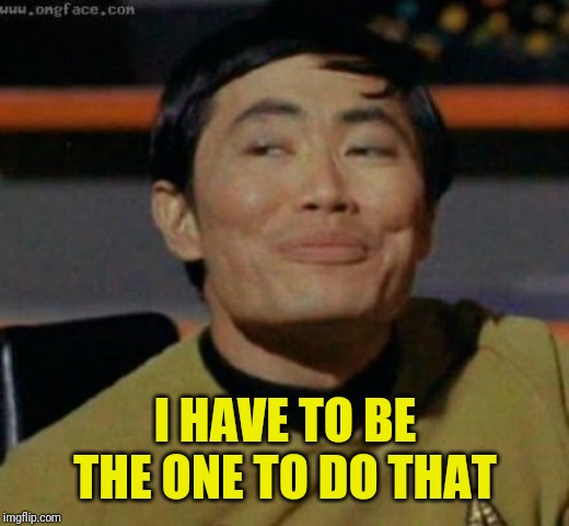 sulu | I HAVE TO BE THE ONE TO DO THAT | image tagged in sulu | made w/ Imgflip meme maker