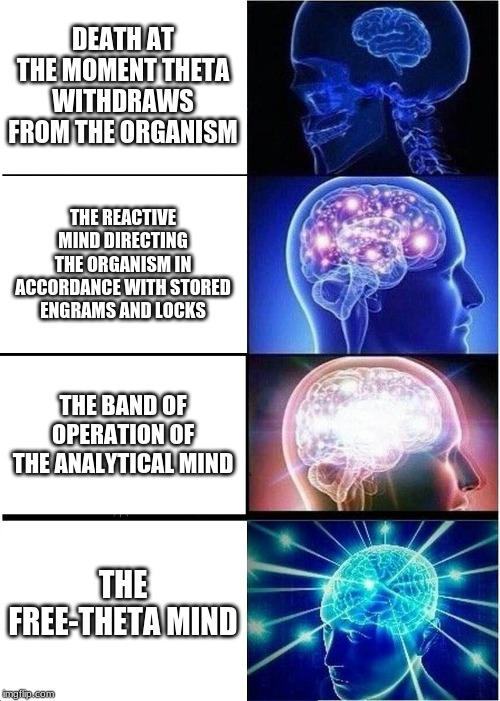 Expanding Brain |  DEATH AT THE MOMENT THETA WITHDRAWS FROM THE ORGANISM; THE REACTIVE MIND DIRECTING THE ORGANISM IN ACCORDANCE WITH STORED ENGRAMS AND LOCKS; THE BAND OF OPERATION OF THE ANALYTICAL MIND; THE FREE-THETA MIND | image tagged in memes,expanding brain | made w/ Imgflip meme maker