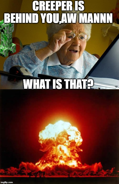 CREEPER IS BEHIND YOU,AW MANNN WHAT IS THAT? | image tagged in memes,grandma finds the internet,nuclear explosion | made w/ Imgflip meme maker