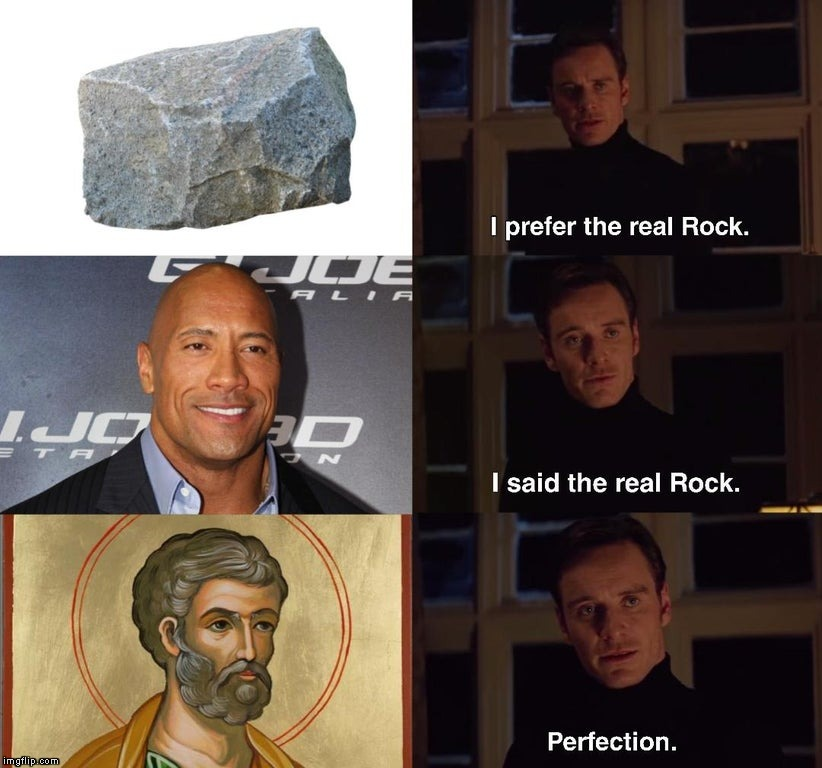 Tu es Petrus | image tagged in memes,rock,dwayne johnson,st peter | made w/ Imgflip meme maker